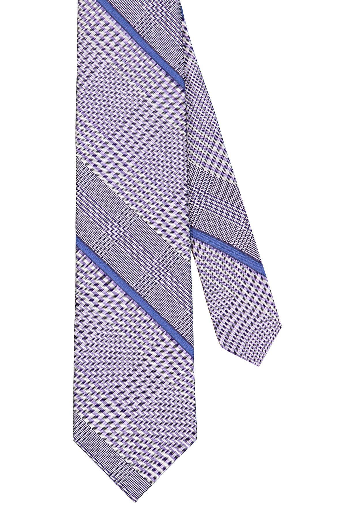 Corbata Calvin Klein, seda y algodón, escoces y cuadros en color lila
