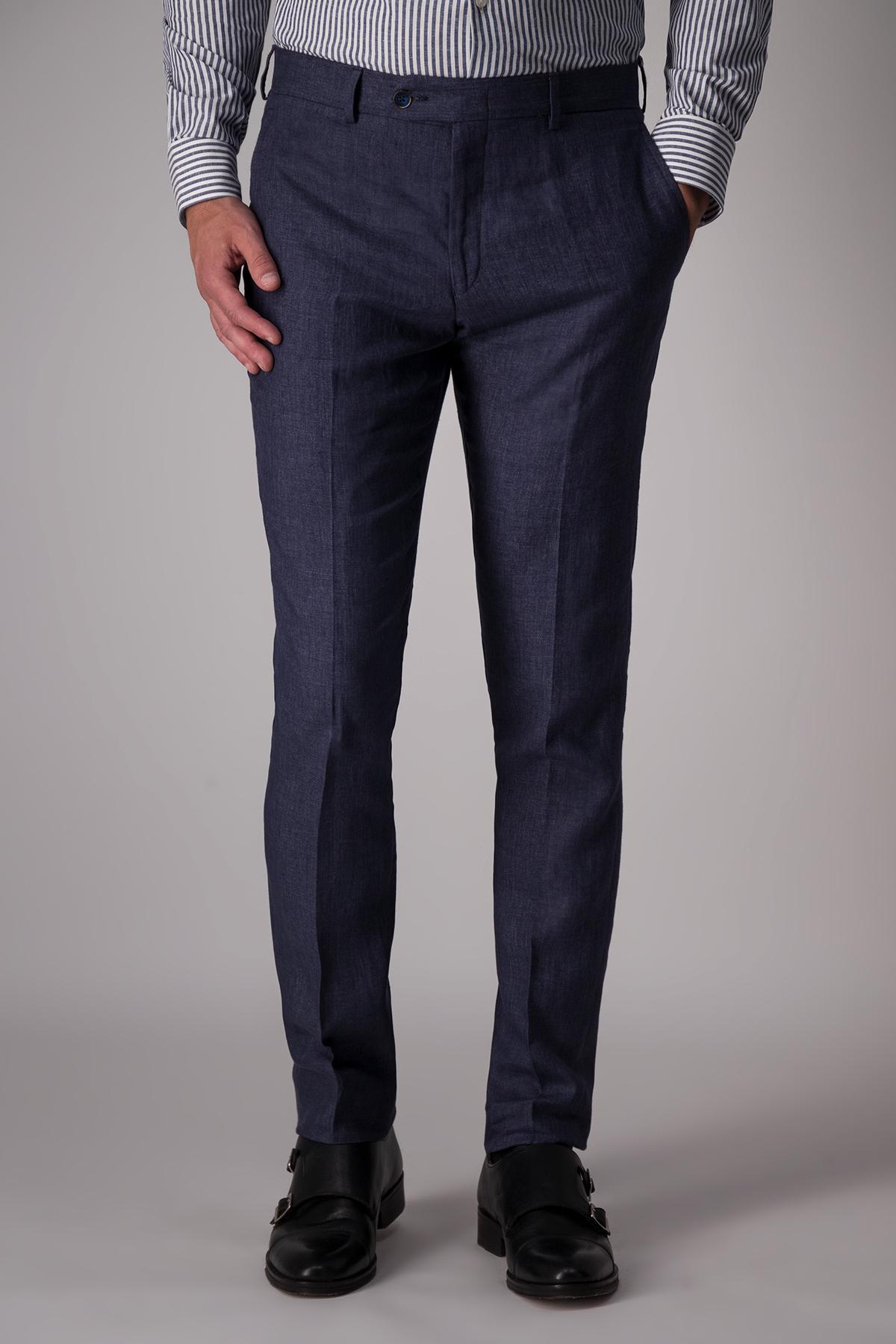 Pantalón Calderoni tela italiana, 100% lino color azul.