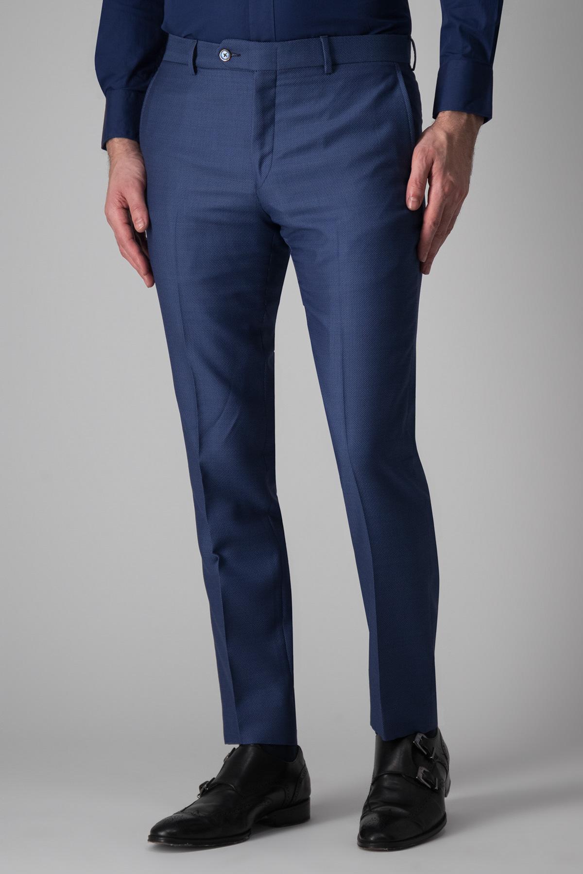 Pantalón Calderoni, tejido italiano de lana y algodón, azul tramado.