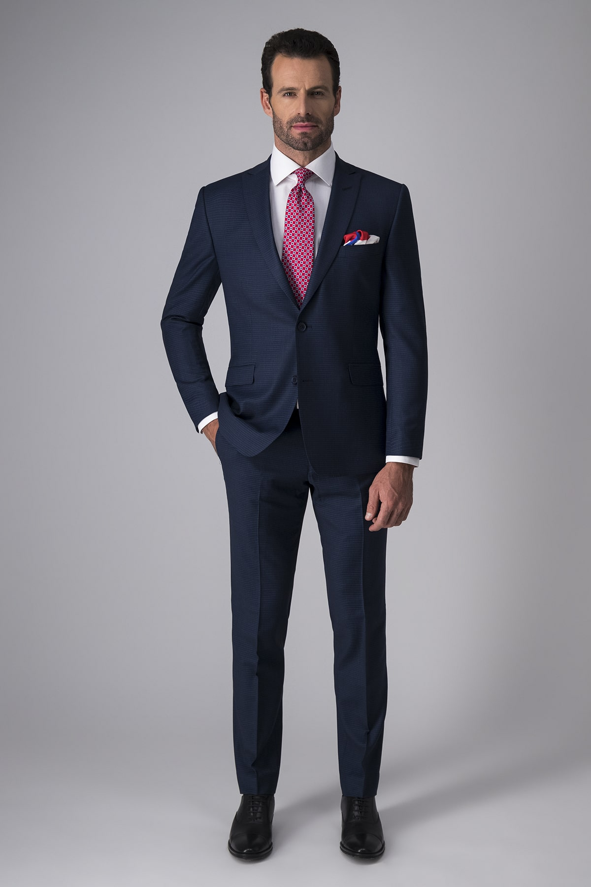 Traje Robert´s Red, slim fit, azul a cuadros, lana stretch