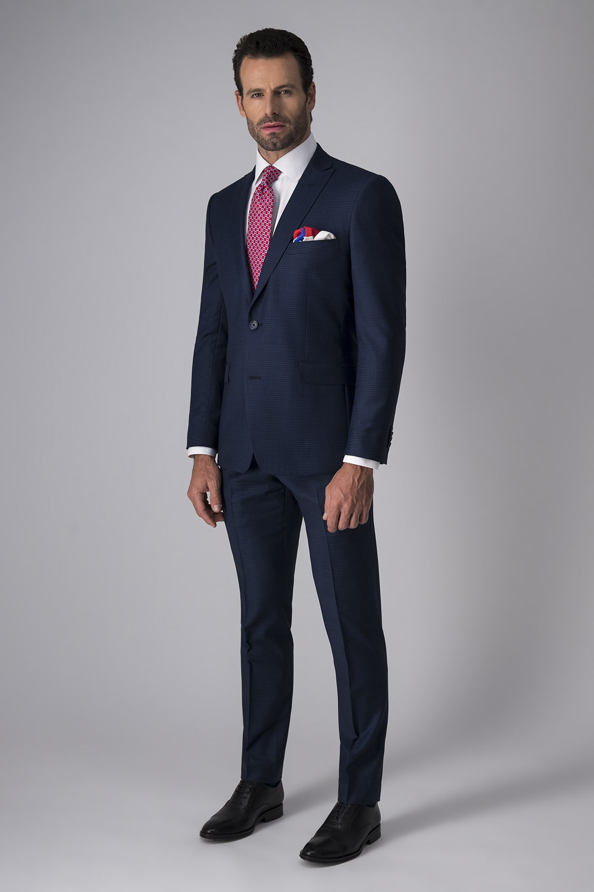 Traje Robert´s Red, slim fit, azul a cuadros, lana stretch