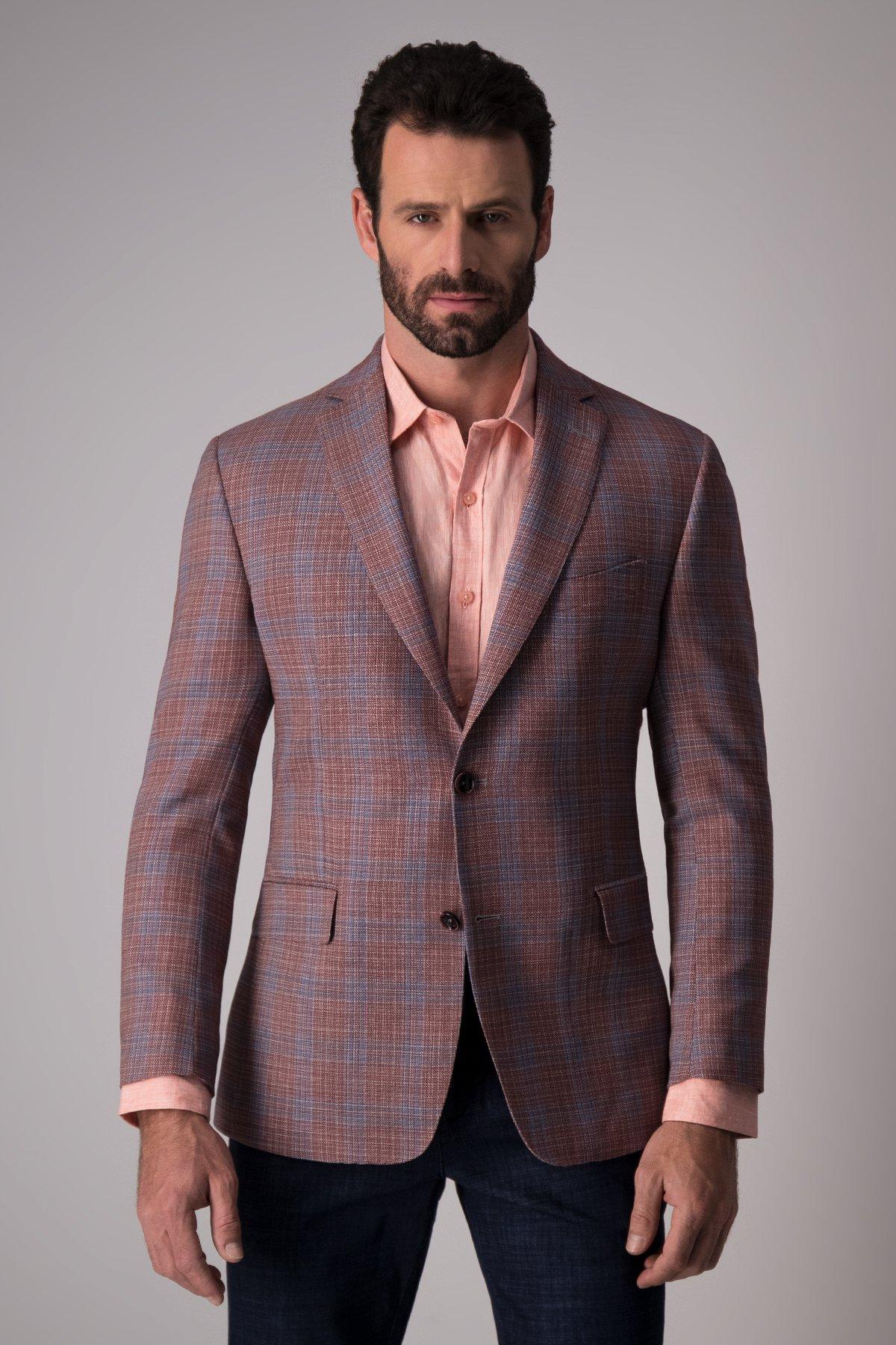Saco Calderoni, tejido italiano, rojo fantasía azul, slim fit.