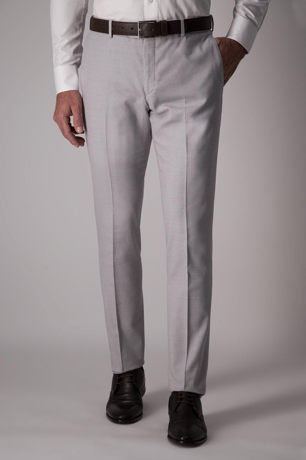 Pantalón Robert´s, lana y algodón, slim, micro diseño gris.