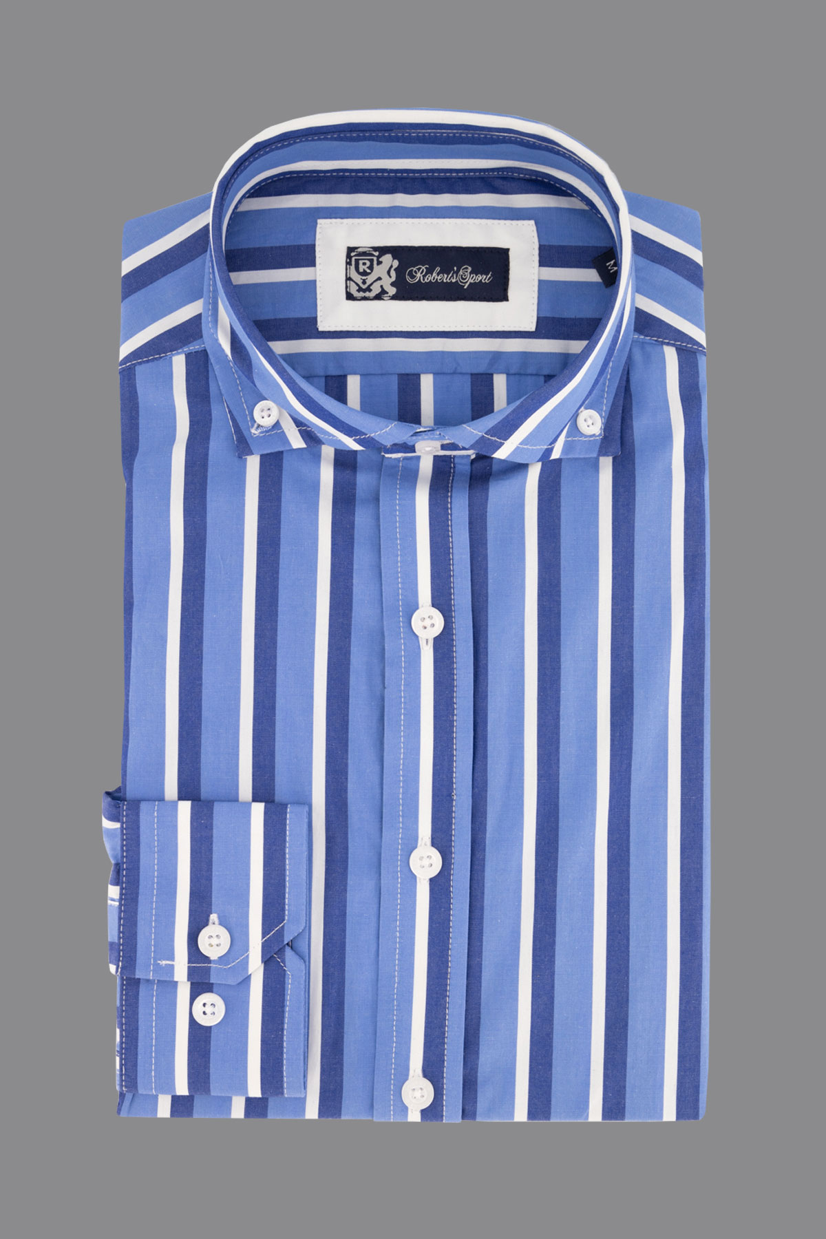 Camisa Robert´s, 100% algodón,  Regular fit, azul a rayas