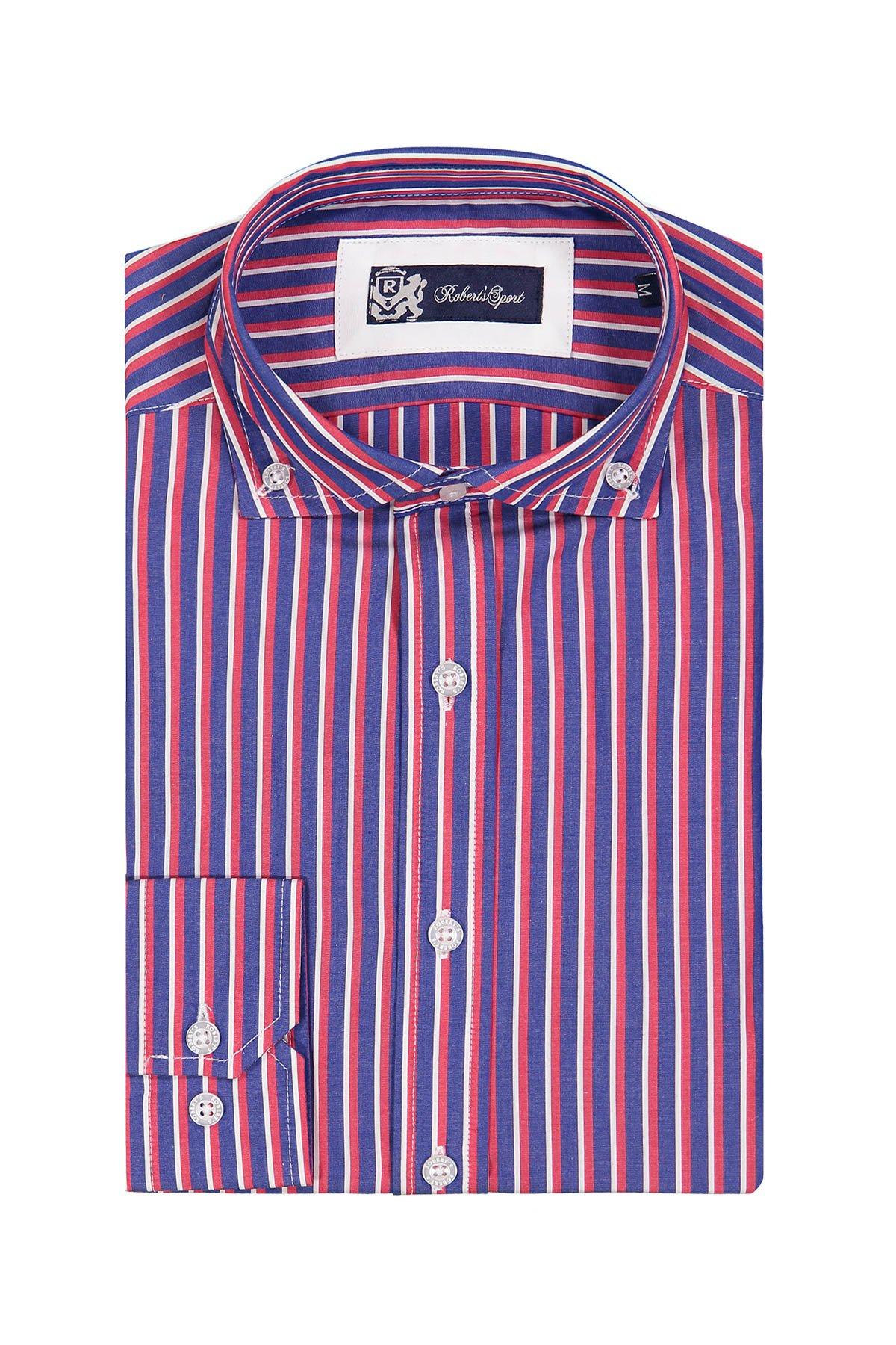 Camisa Sport Robert´s, rayada azul, rojo y blanco, cuello botón down.