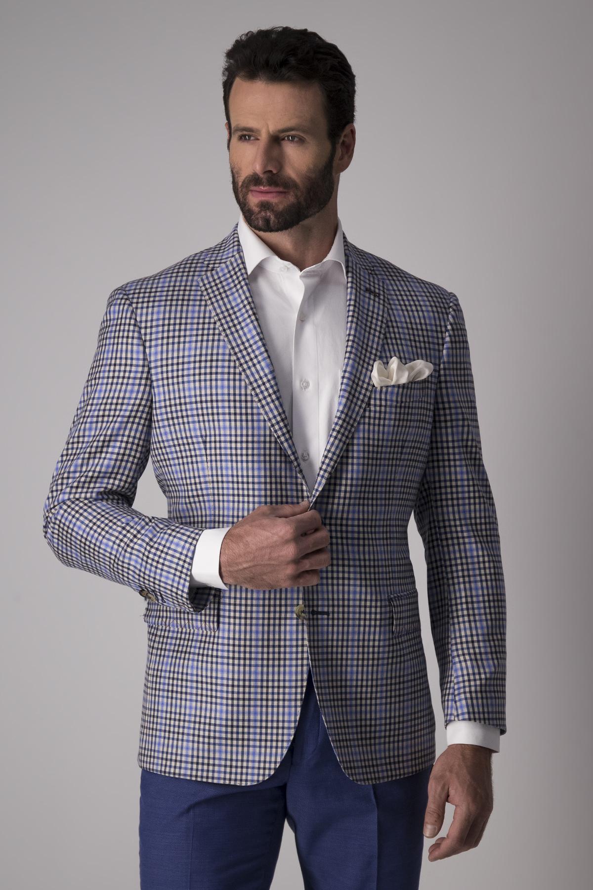 Saco Calderoni, 100% lana,  Regular fit, cuadros azul.