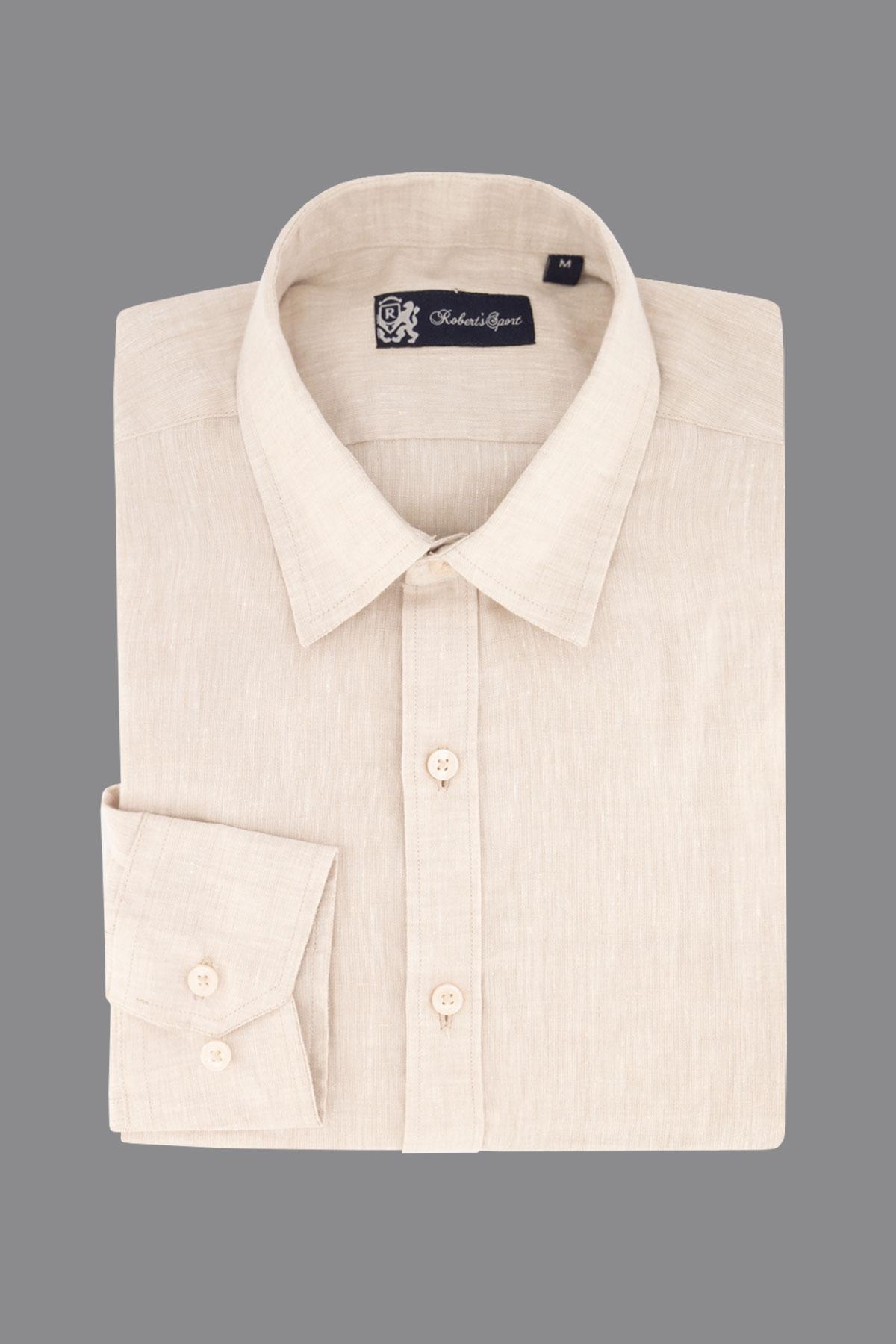 Camisa Robert´s, 100% lino,  Regular fit, color beige.