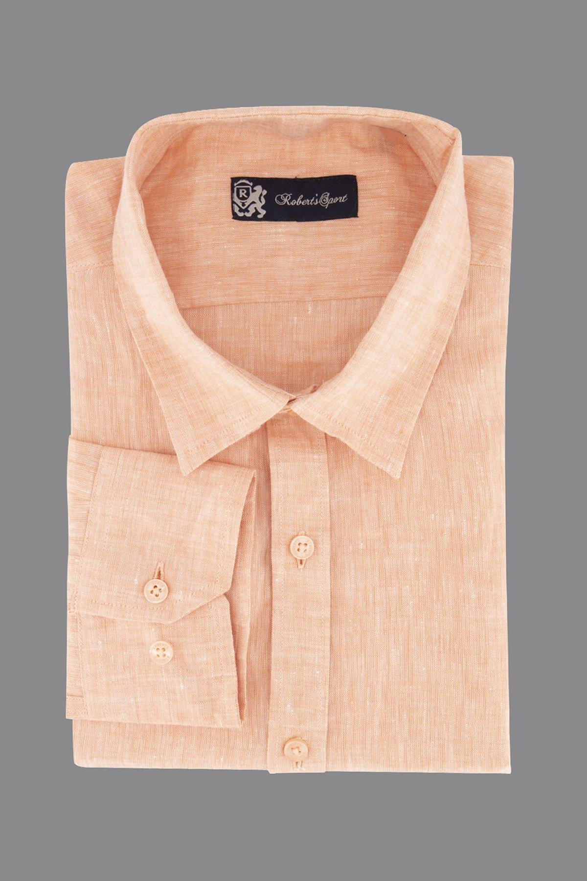 Camisa Robert´s, 100% lino,  Regular fit, color naranja.