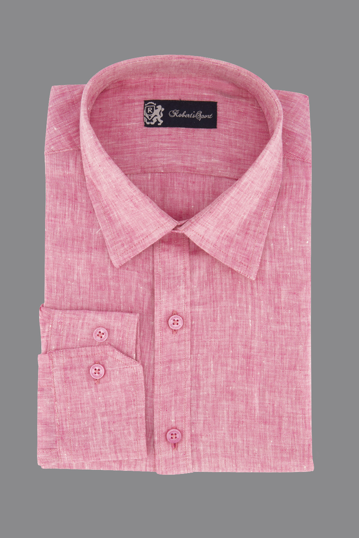 Camisa Robert´s, 100% lino,  Regular fit, color rosa.