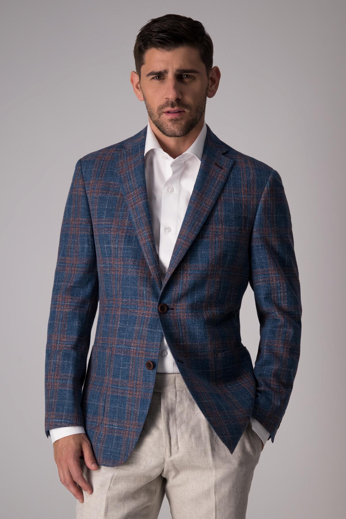 Saco Calderoni tela italiana, azul fantasía,  Regular fit.