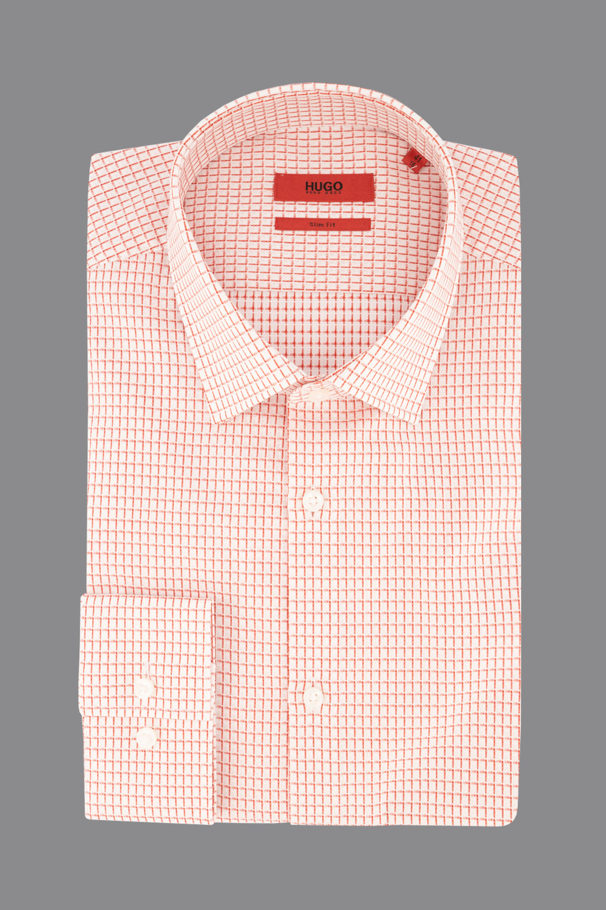 Camisa Hugo Boss, slim fit, fantasía color rojo.