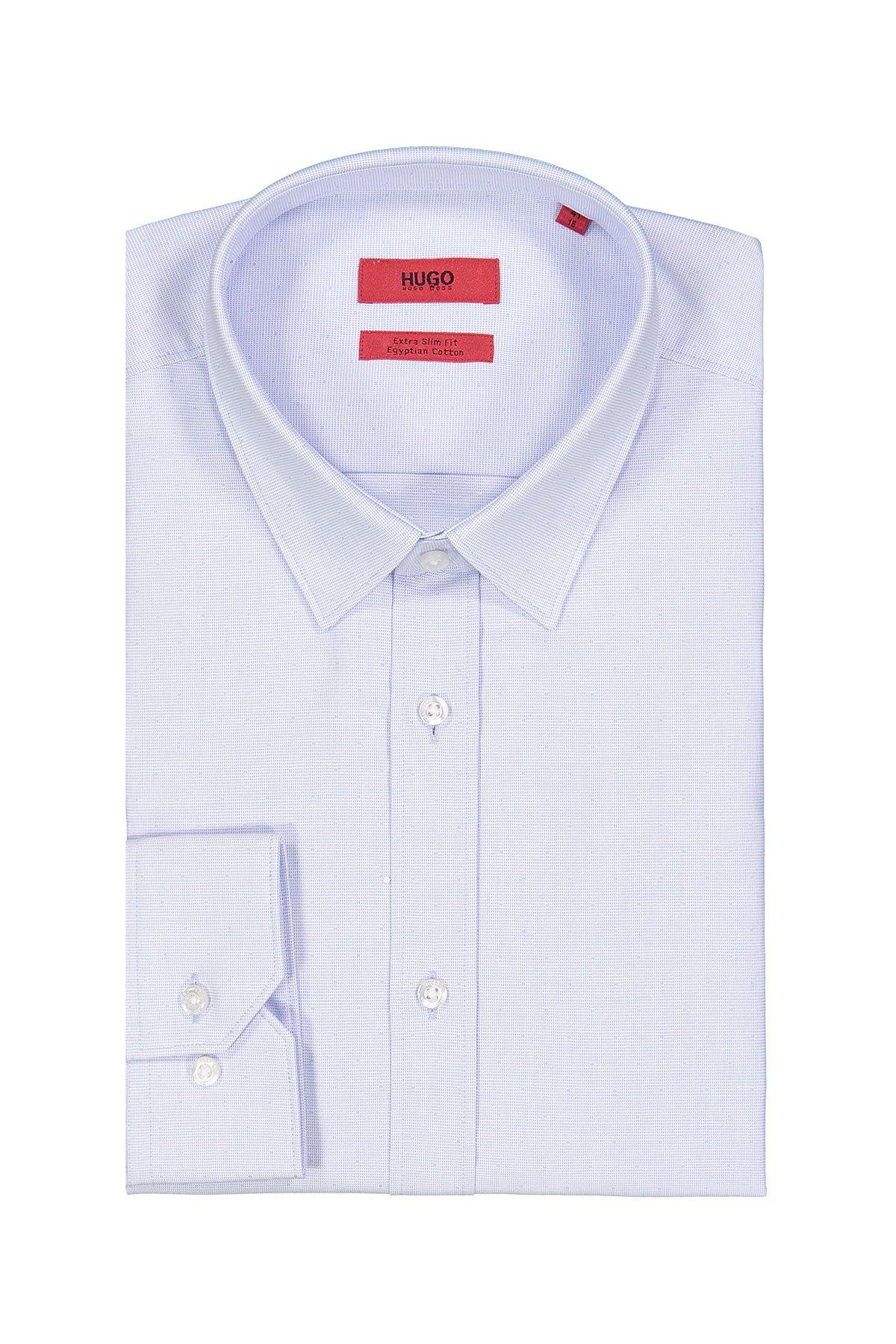 Camisa Hugo Boss, Extra slim fit, micro diseño celeste.