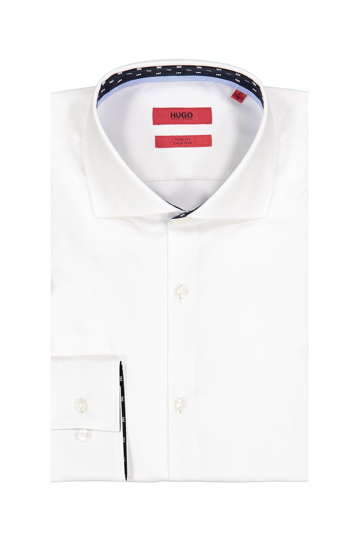 Camisa Hugo Boss, Easy Iron, slim fit, lisa blanca, cuello italiano.