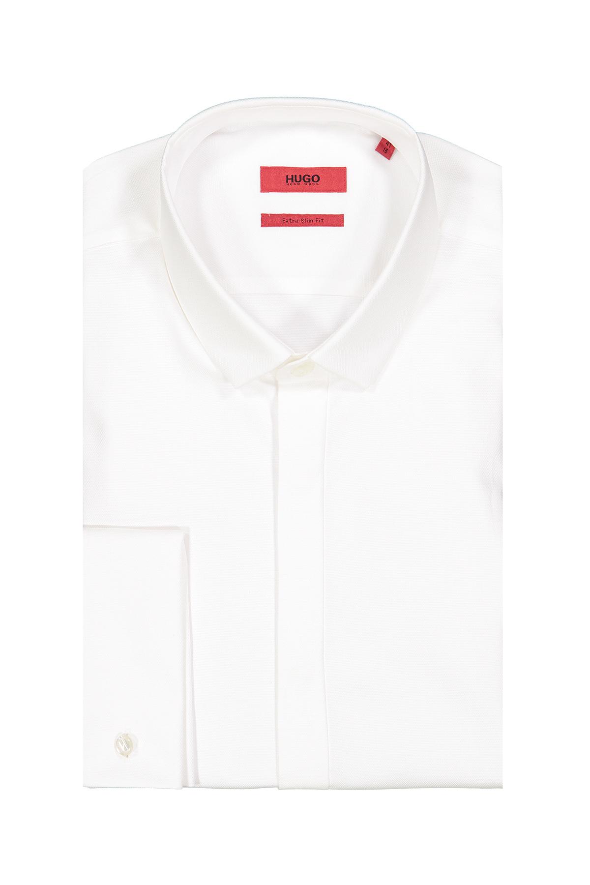 Camisa Hugo Boss, Extra slim fit, blanca cuello pequeño, puño doble.