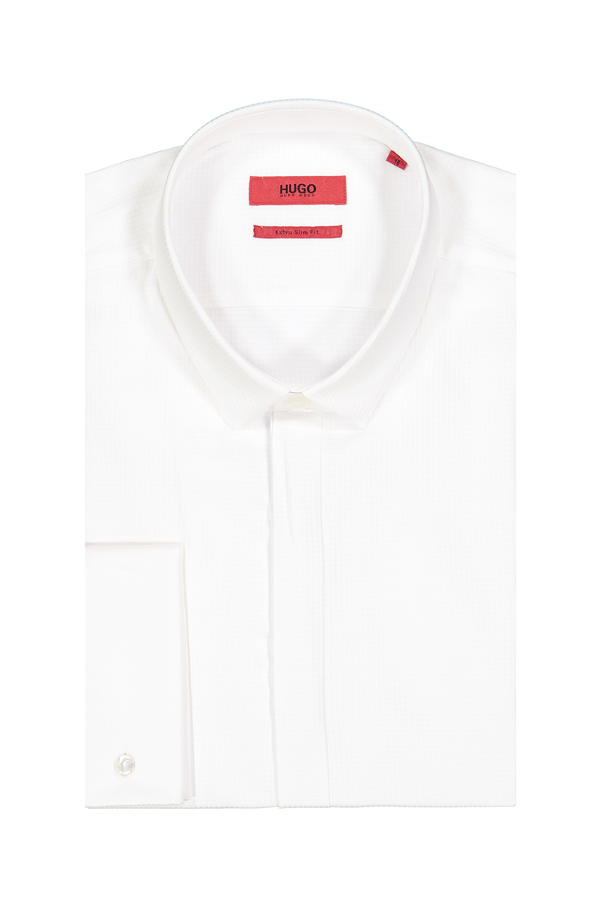 Camisa Hugo Boss, Extra slim fit, blanca tramada, puño doble.