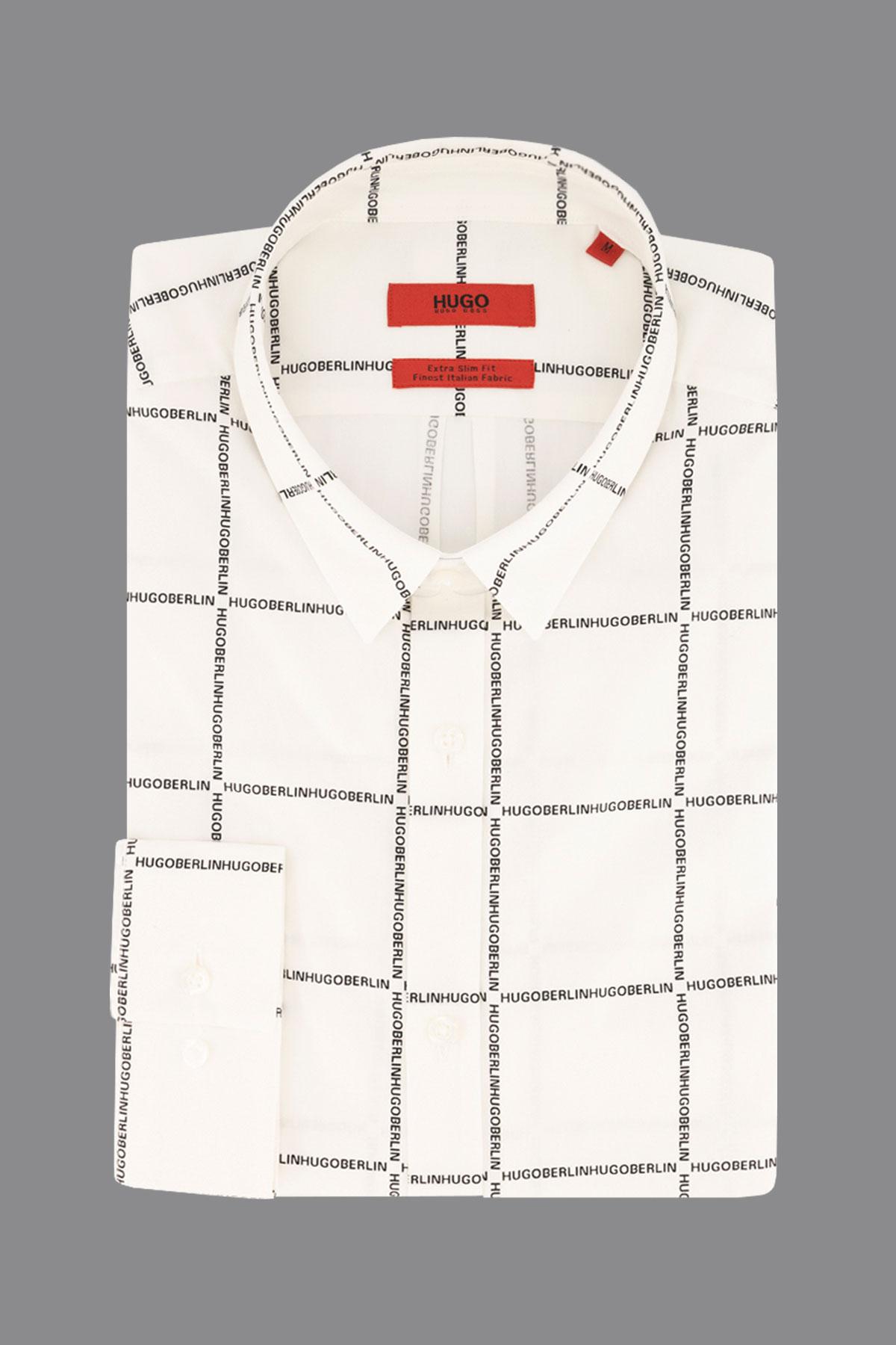 Camisa Hugo Boss, extra slim fit , blanca fantasía cuadro texto