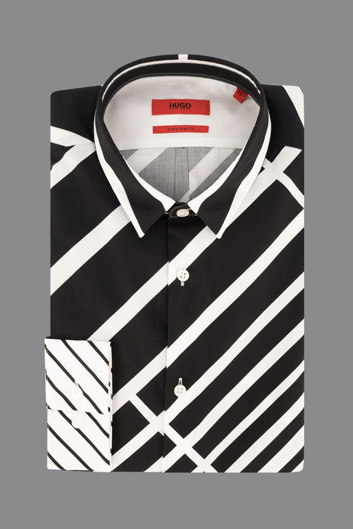 Camisa Hugo Boss, slim fit,  color negra y blanco rayas en diagonal