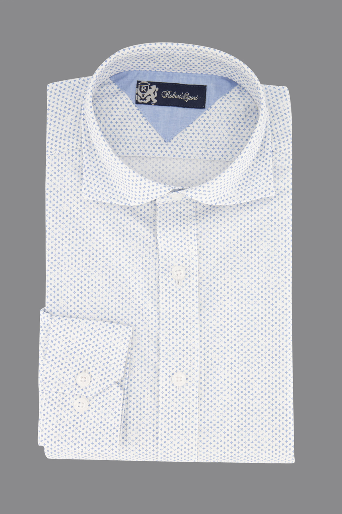 Camisa Robert´s, 100% algodón,  Regular fit, print azul.
