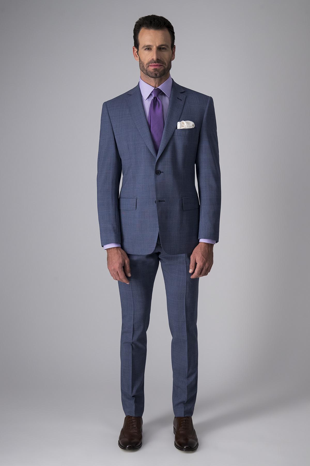 Traje Calderoni, 100% lana, tela italiana,  slim fit, gales azul,