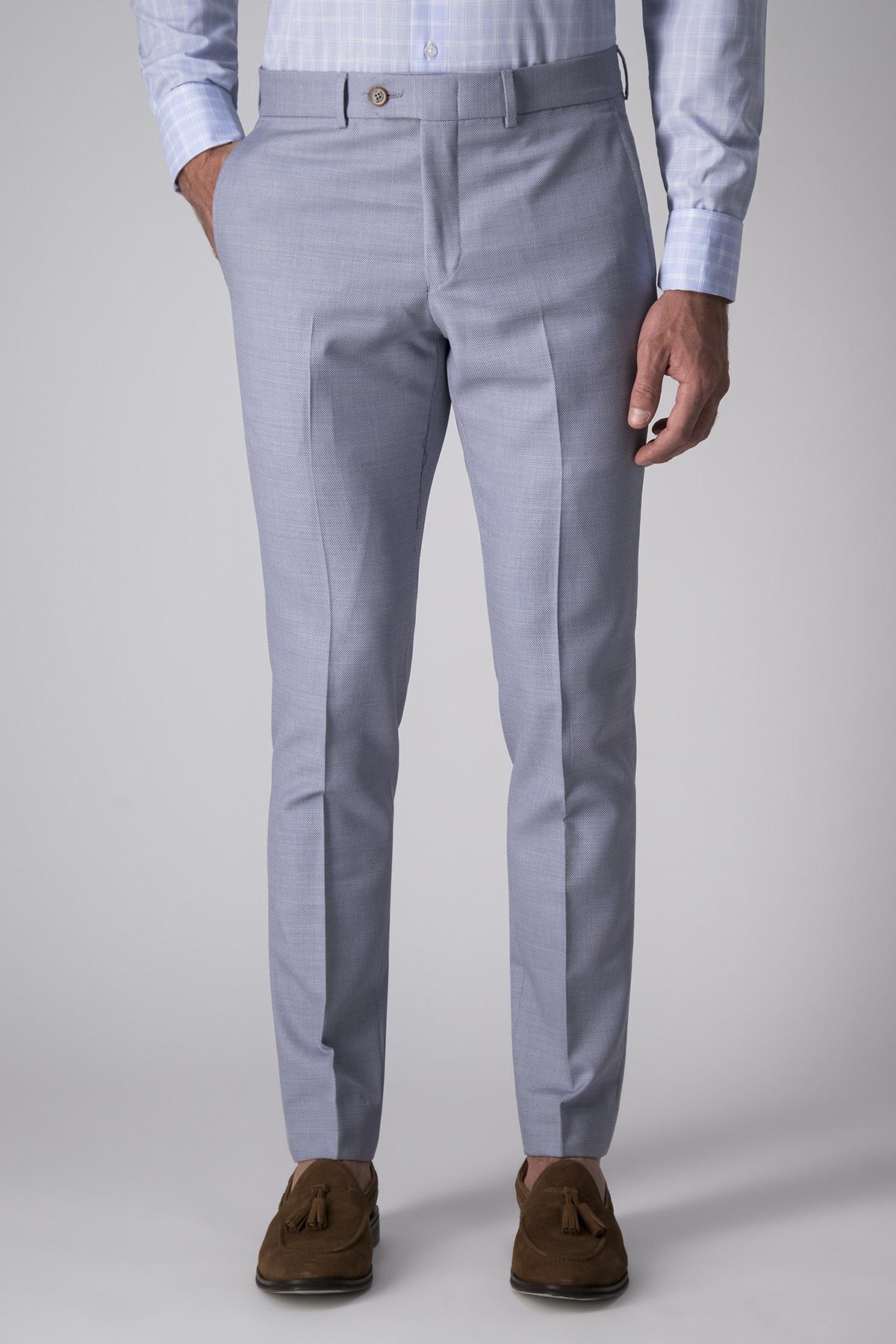 Pantalón Calderoni, tejido italiano, micro diseño celeste