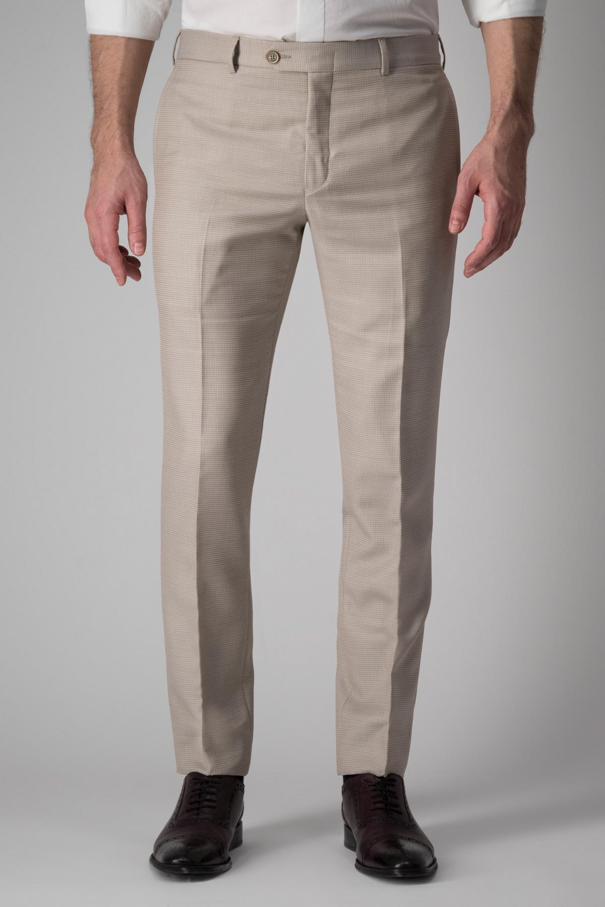 Pantalón Calderoni, tejido italiano de lana y algodón, beige tramado.