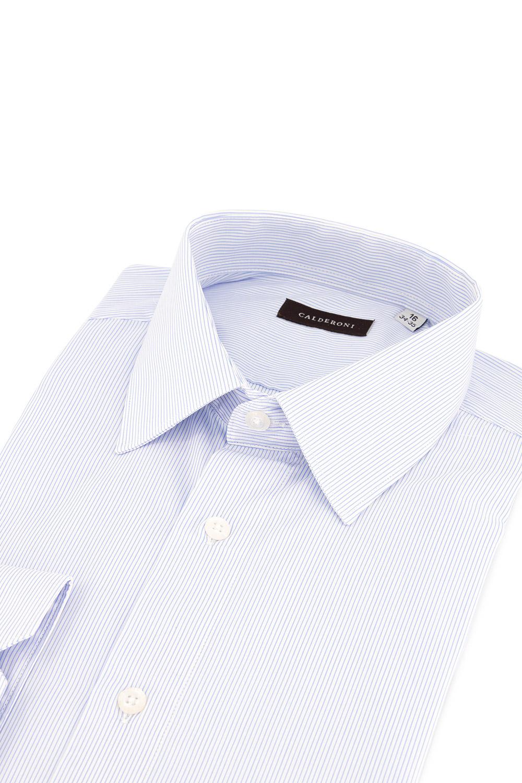Camisa Calderoni, 100% algodón, mil rayas blanca y celeste.