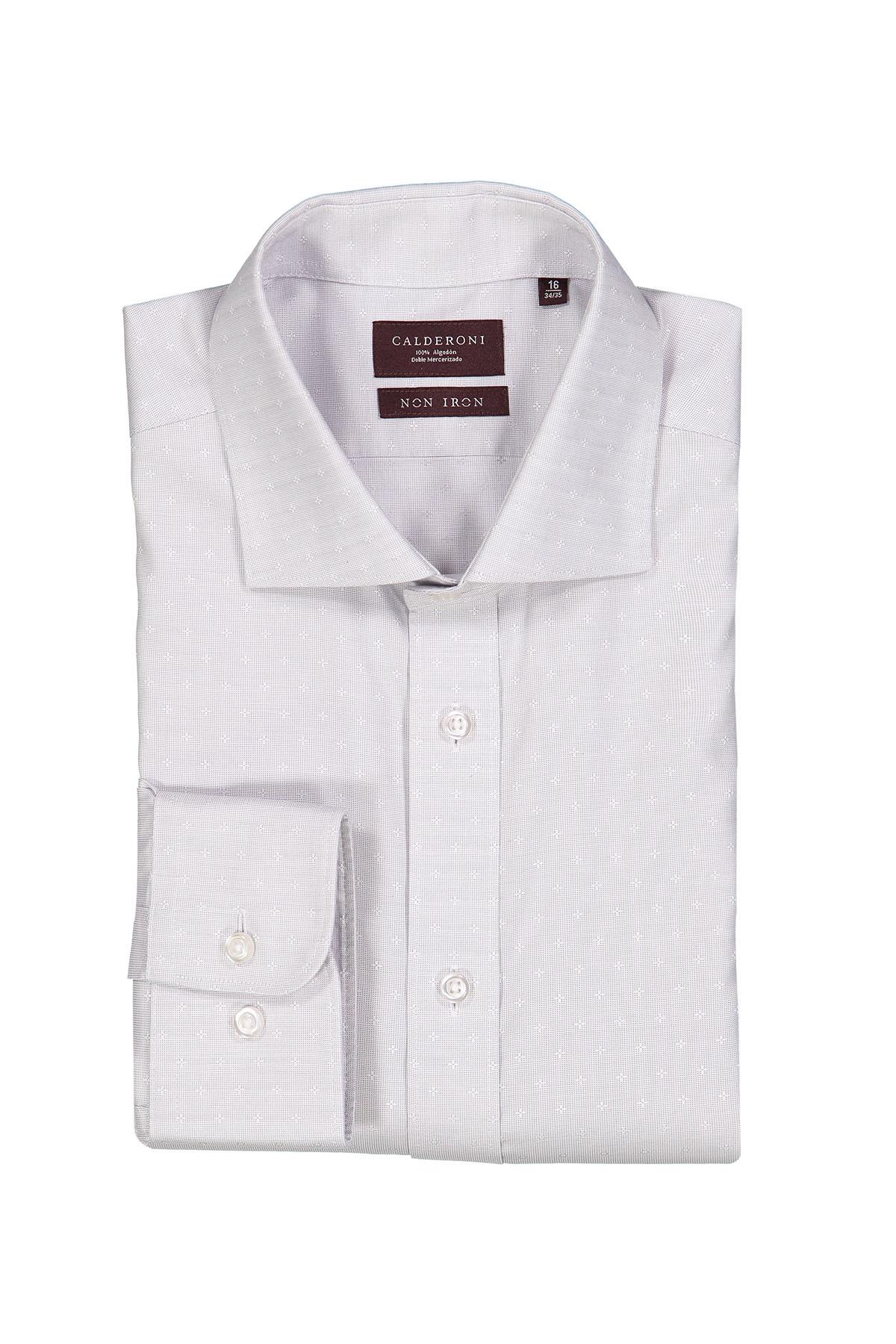Camisa Calderoni -Non Iron 24/7- fil a fil gris con fantasía.