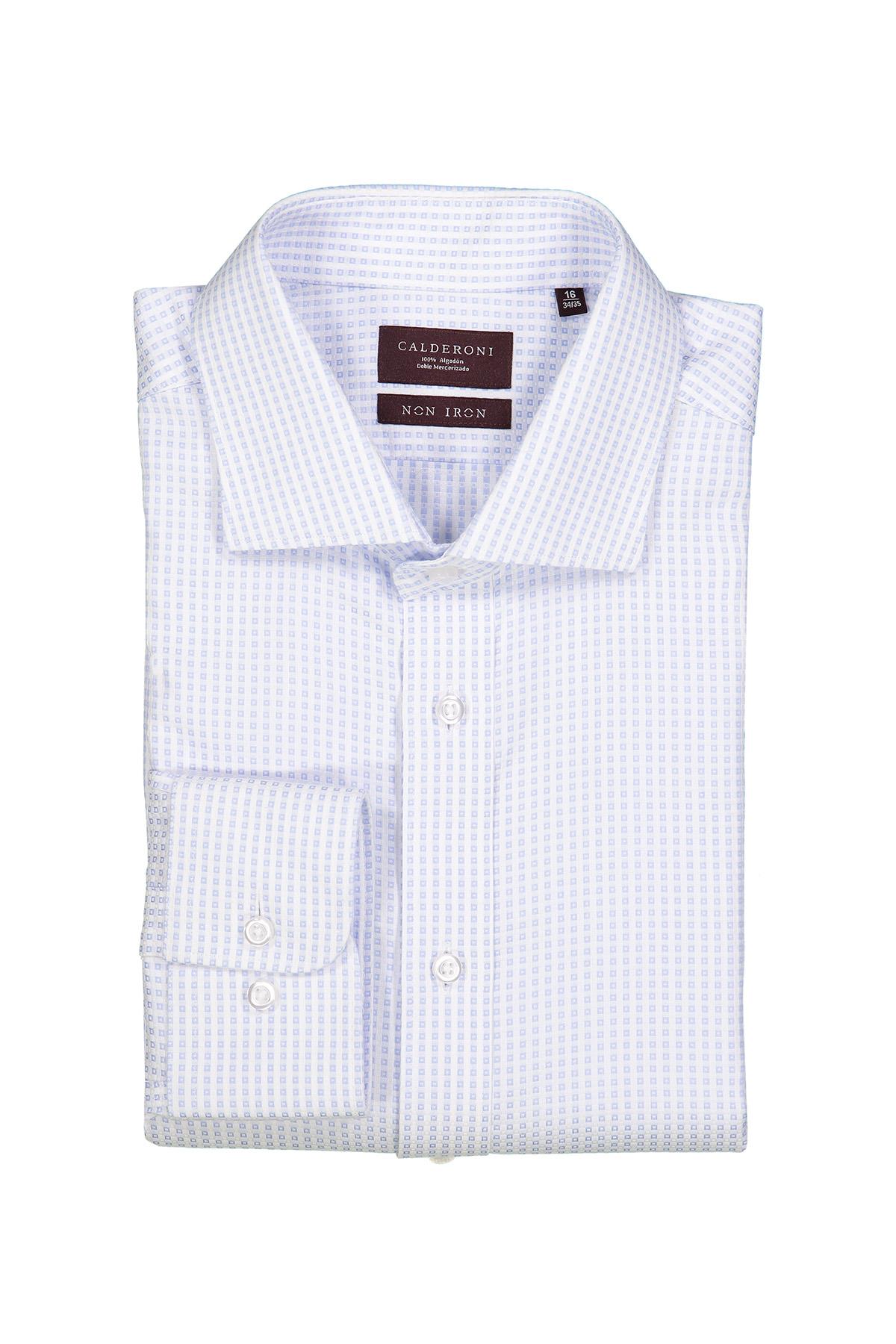 Camisa Calderoni -Non Iron 24/7 - blanca con cuadros celeste.