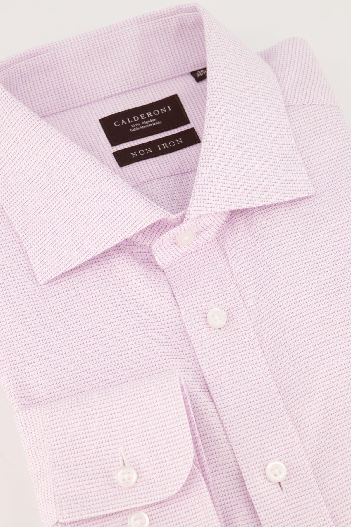 Camisa Calderoni -Non Iron 24/7 - micro diseño rosa.