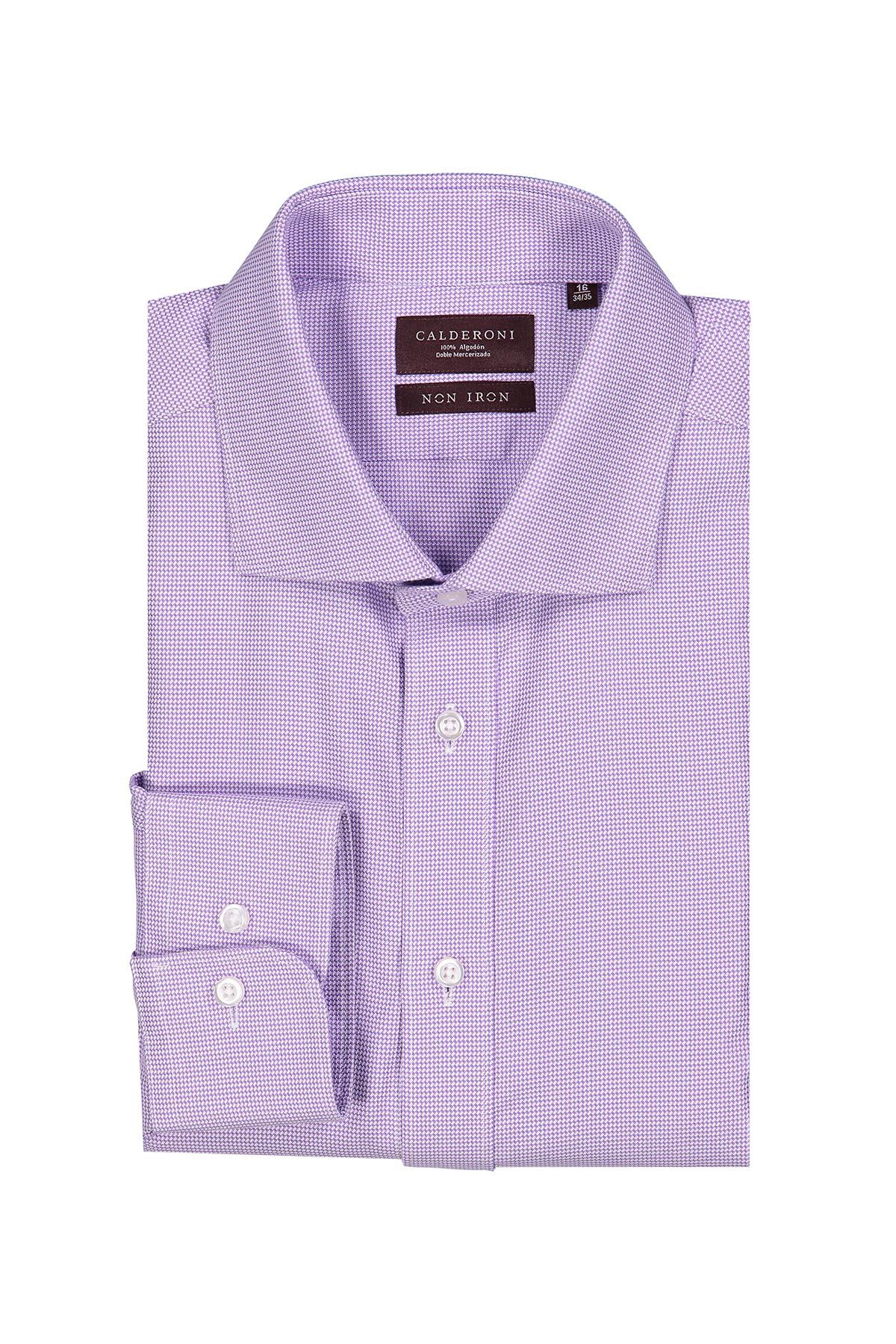 Camisa Calderoni -Non Iron 24/7- micro diseño color morado.