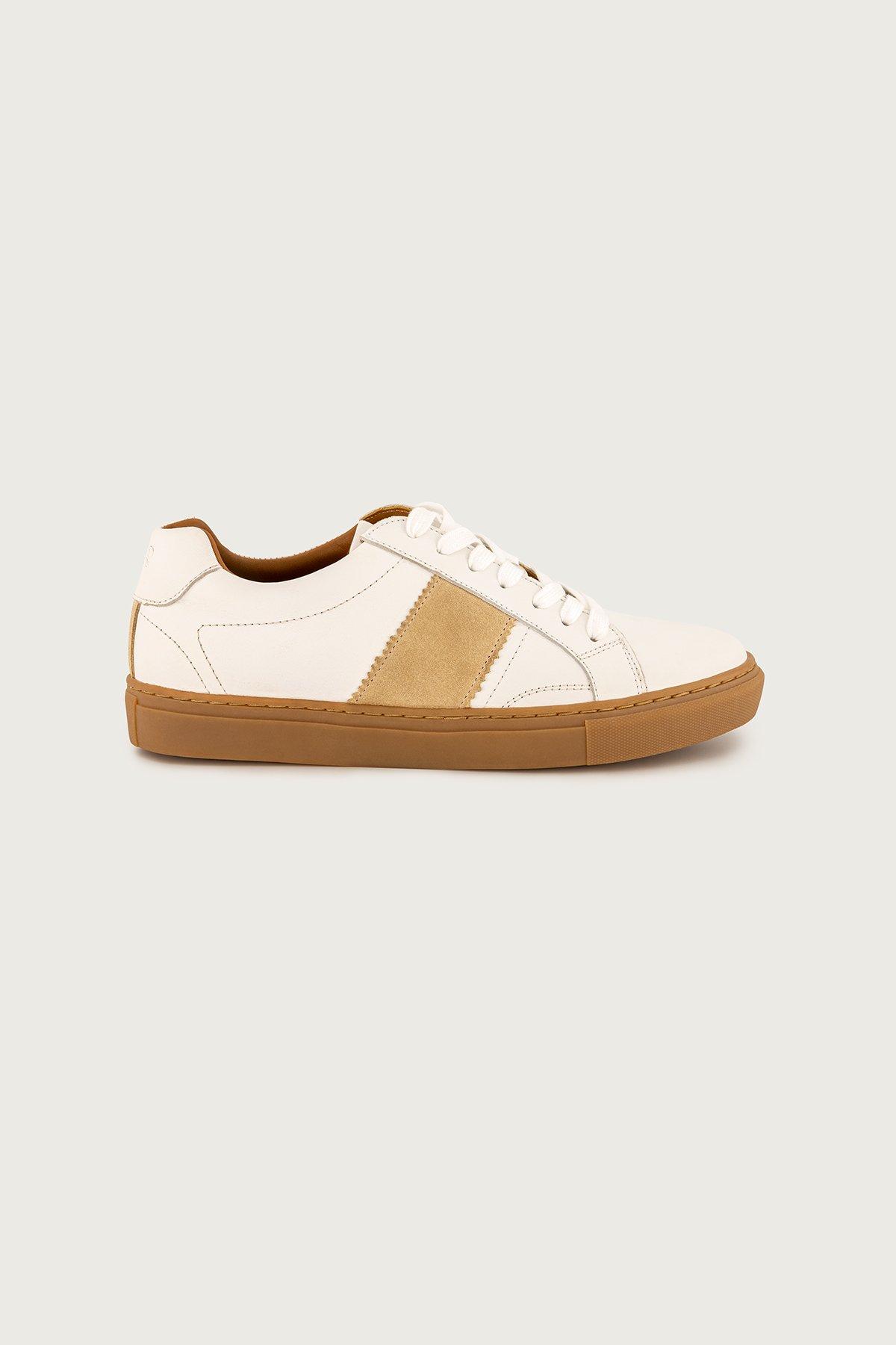 Sneakers Calderoni, modelo Sicilia, cuero vacuno color blanco.